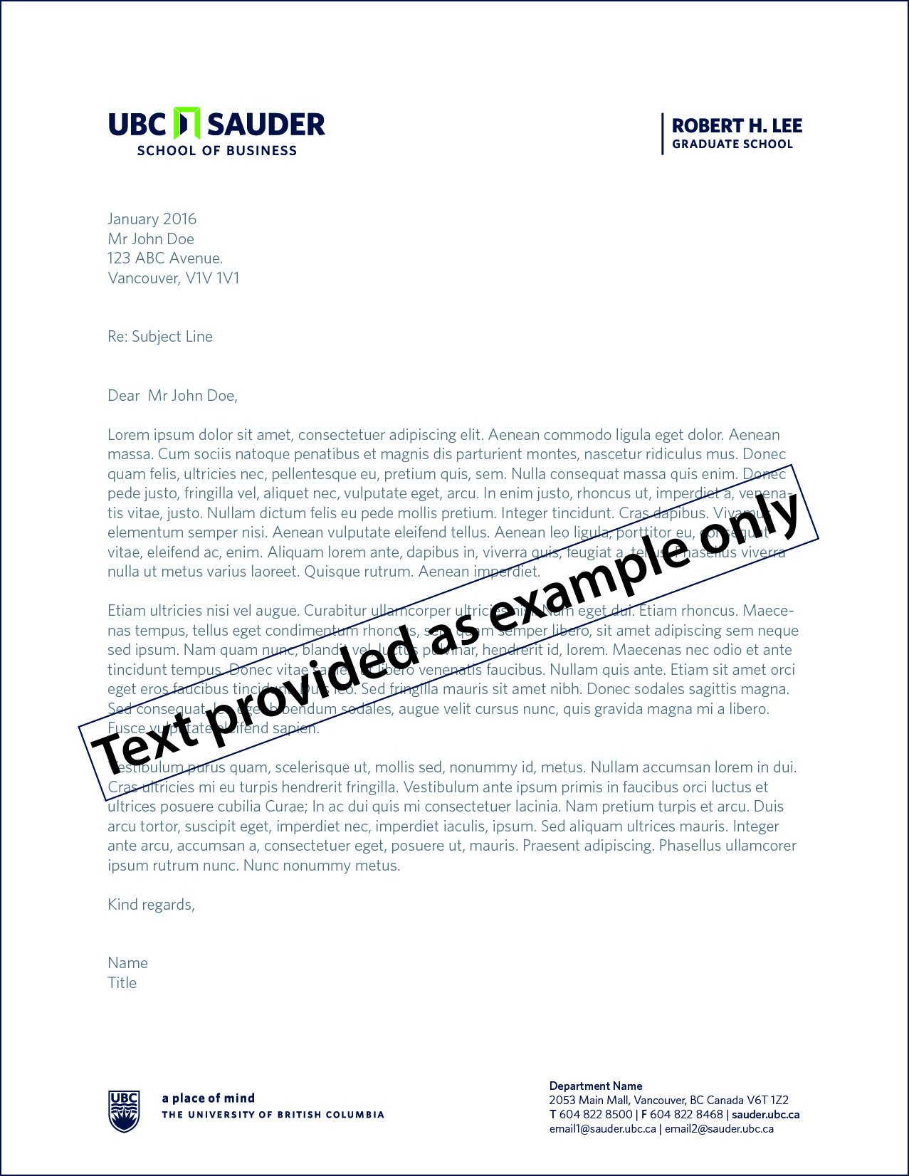 RHL letterhead example with text