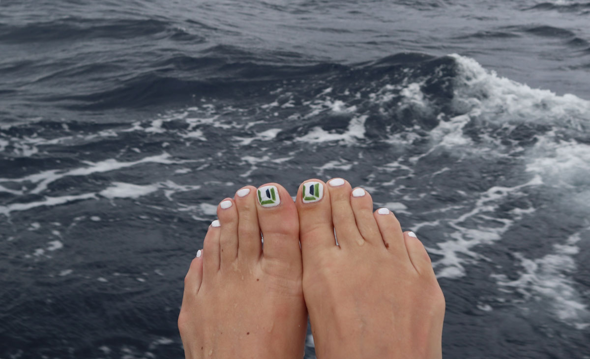 Image of feet in the foreground with Sauder logo painted on the nails and the ocean in the background