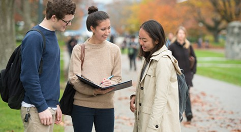 Students interacting outside during Fall