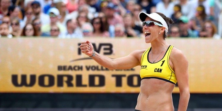 Image of Jamie Broder celebrating at the Five Beach Volleyball World Tour