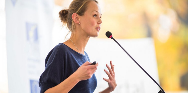 Image of woman giving a speech