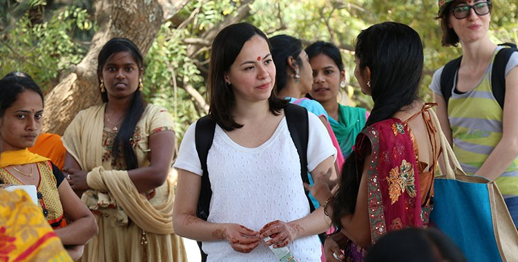 image of international female student in a crowd of women from India