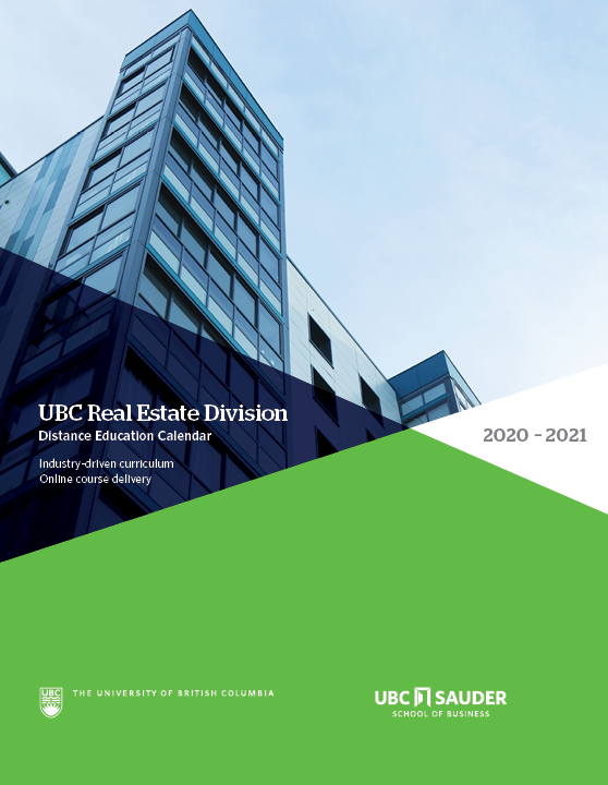 UBC Real Estate Division Distance Education Calendar 2020-21
