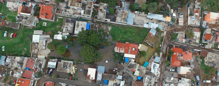 Aerial image above a neighbourhood near Mexico City.