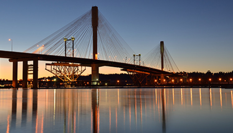 Golden Ears Bridge at dusk