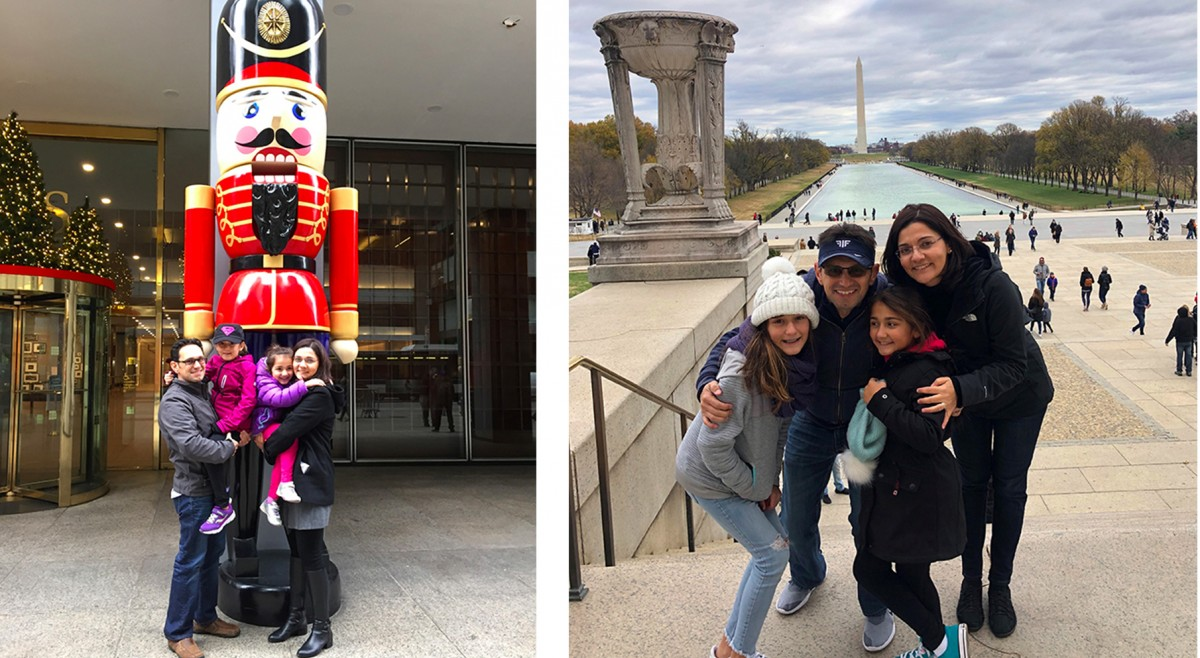 Sema with her family in New York City in front of her office building in 2015 and during a Thanksgiving trip to Washington, DC in 2019.